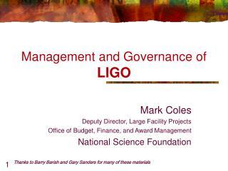 Management and Governance of LIGO