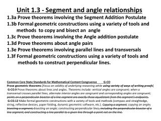 Common Core State Standards for Mathematical  Content Congruence  G-CO