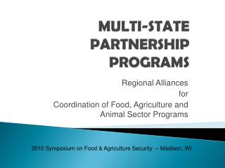 MULTI-STATE PARTNERSHIP PROGRAMS