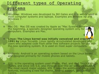 Different types of Operating systems