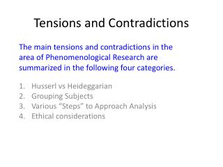 Tensions and Contradictions