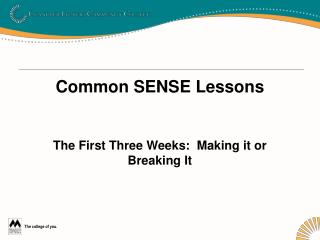 Common SENSE Lessons