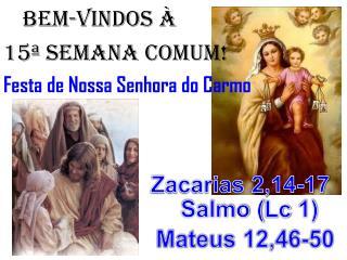 BEM-VINDOS À 15ª semana COMUM! Festa de Nossa Senhora do Carmo