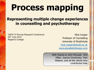 Process mapping Representing  multiple change experiences in counselling and  psychotherapy