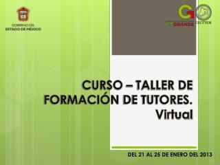 CURSO – TALLER DE FORMACIÓN  DE TUTORES. Virtual