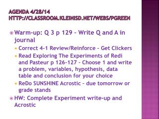 Agenda 4/28/14 classroom.kleinisd/webs/pgreen