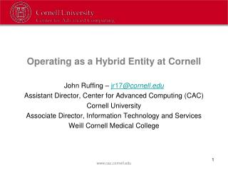 Operating as a Hybrid Entity at Cornell