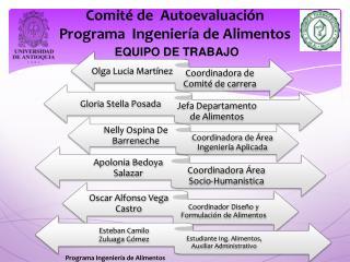 Comité de  Autoevaluación  Programa  Ingeniería de Alimentos EQUIPO DE TRABAJO