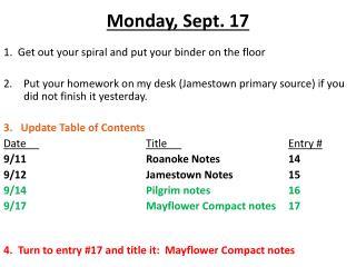 Monday ,  Sept.  17