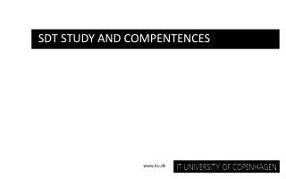 SDT Study and  Compentences