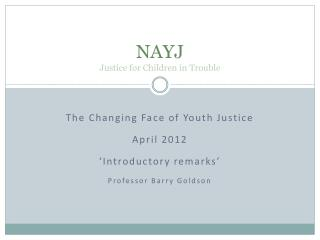 NAYJ Justice for Children in Trouble