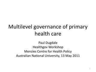 Multilevel governance of primary health care