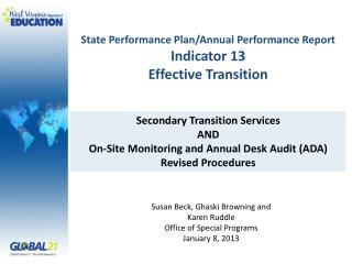State Performance Plan/Annual Performance Report Indicator 13 Effective Transition