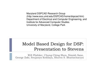 Model Based Design for DSP: Presentation to  Stevens