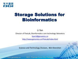 Storage Solutions for Bioinformatics