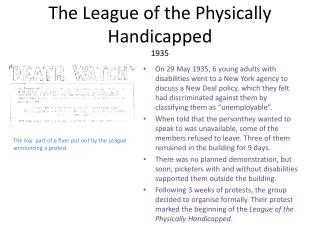 The League of the Physically Handicapped 1935