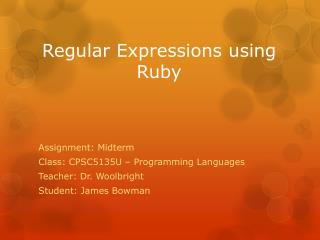 Regular Expressions using Ruby