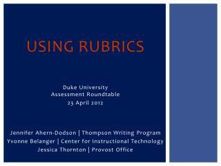 Using Rubrics