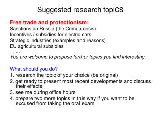Suggested research topi cs