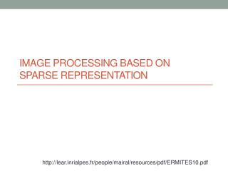 Image processing based on sparse representation