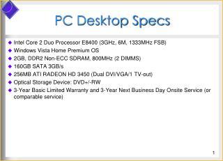 PC Desktop Specs