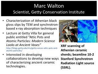 Marc Walton Scientist, Getty Conservation Institute