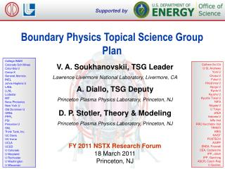 Boundary Physics Topical Science Group  Plan