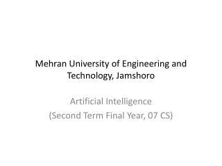 Mehran University of Engineering and Technology, Jamshoro