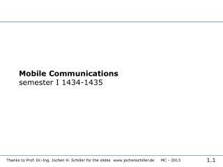 Mobile Communications semester I 1434-1435