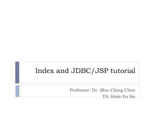 Index and JDBC/JSP tutorial