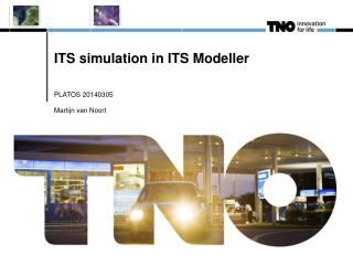 ITS simulation in ITS Modeller