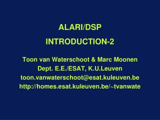 ALARI/DSP INTRODUCTION -2