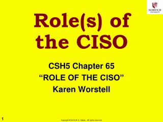 Role(s)  of the CISO