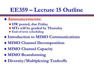 EE359 � Lecture 15 Outline