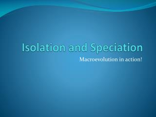Isolation and Speciation