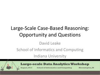 Large-Scale Case-Based Reasoning:  Opportunity and Questions