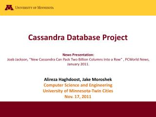 Cassandra  Database Project