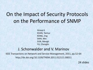 On the Impact of Security Protocols on the Performance of SNMP