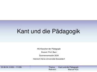 Kant und die P dagogik