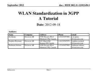 WLAN Standardization in  3GPP A Tutorial
