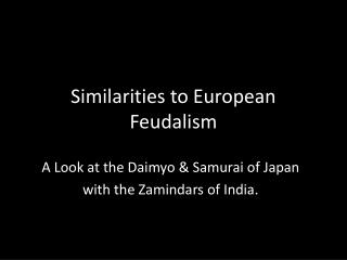 Similarities to European Feudalism