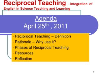 Agenda April 25 th  , 2011