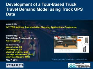 Development of a Tour-Based Truck Travel Demand Model using Truck GPS Data