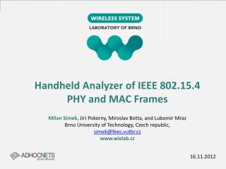Handheld Analyzer of IEEE 802.15.4  PHY and  MAC Frames