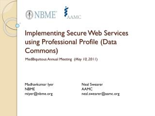 Implementing Secure Web Services using Professional Profile (Data Commons)