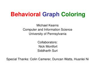 Behavioral Graph Coloring