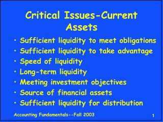 Critical Issues-Current Assets