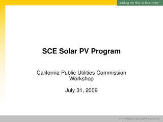 SCE Solar PV Program