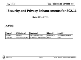 Security and Privacy Enhancements for 802.11