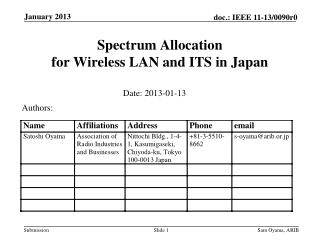 Spectrum Allocation  for Wireless  LAN and ITS in Japan